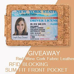 Kinzd Red Wine Cork Fabric Leather Wallet Giveaway