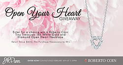 Roberto Coin Open Heart Necklace Giveaway