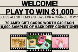 Hask Hollywood Quiz Instant Win Game